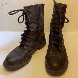 Mossimo Dark Brown Combat Style Boots Zip Up
